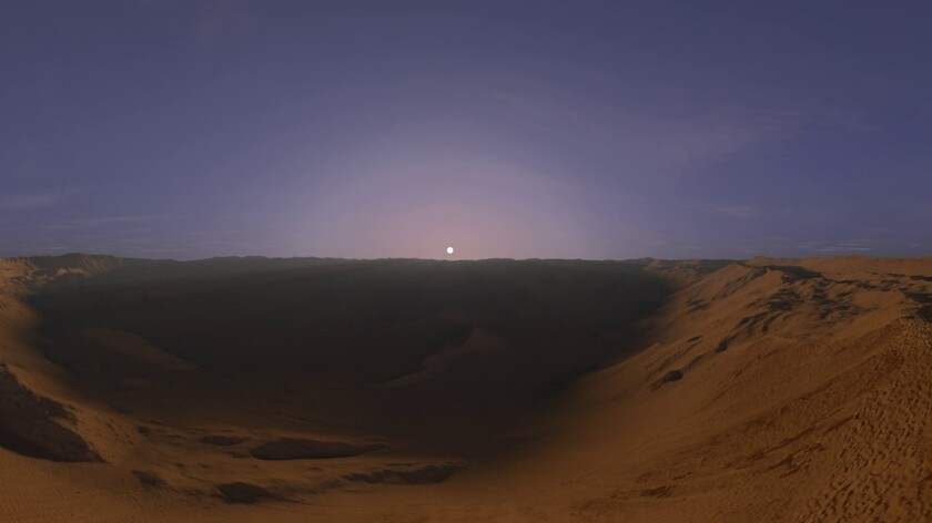 Изображение рассвета на Марсе, созданное при помощи компьютерного моделирования и данных, полученных с камеры HiRise, установленной на аппарате Mars Reconnaissance Orbiter. Фото: Youtube