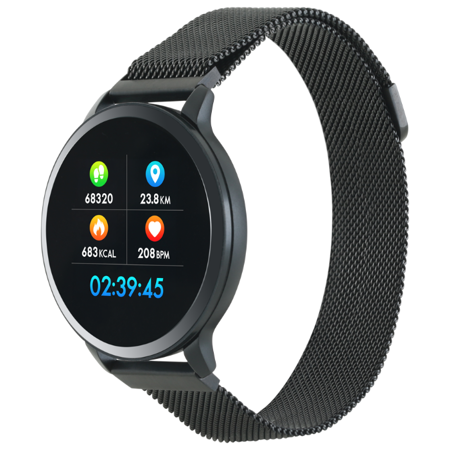 Canyon 1.22inch colorful LCD, 2 straps, metal strap and silicon strap, metal case, IP68 waterproof, multisport mode, camera remote, music control, 150mAh, compatibility with iOS and android, Black, host: 42*48*12mm, belt: 222*18mm, 52.3g. N-SSW: характеристики и цены