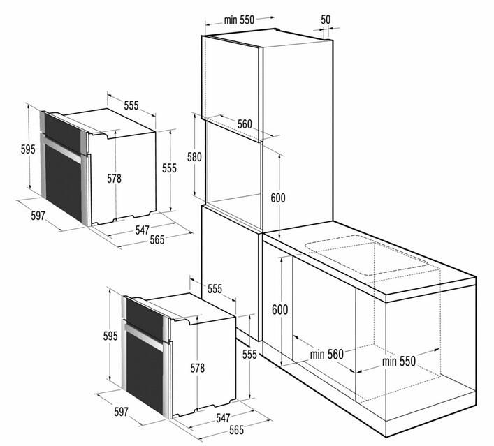 Схема встройки духовых шкафов 971