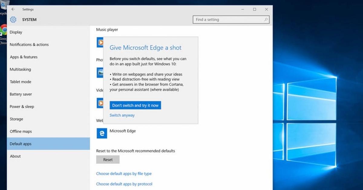 Microsoft уговаривает пользователей Windows 10 не использовать Chrome